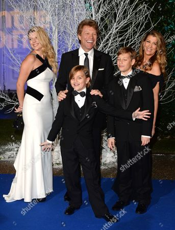 Stock Image of Jon Bon Jovi, wife Dorothea Hurley (R), daughter Stephanie and sons Jesse Bon Jovi and Jacob Hurley