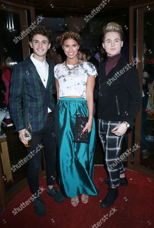Ferne McCann (C) and Kingsland Road's Josh Zare and Joe Conaboy