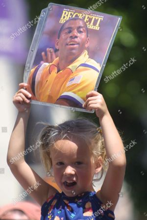 Stock Image of 4 YEAR OLD FAN TROY OLSEN