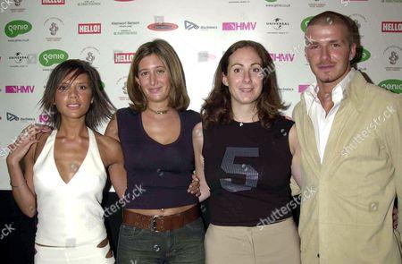 VICTORIA BECKHAM, DAVID BECKHAM AND THE 3AM GIRLS JESSICA CALLAN AND POLLY GRAHAM