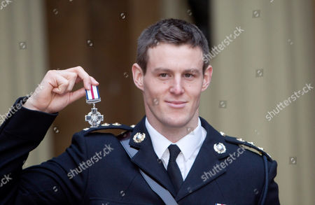 Stock Photo of Captain Owen Davis with the Conspicuous Gallantry Cross for courage in the face of the enemy