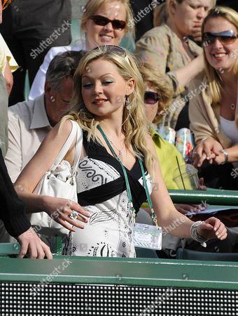 Wimbledon Tennis Championships 2008 Day Four 26/6/2008 Chris Eaton Girlfriend Emma Cowles Watching The Match Between Chris Eaton V Tursanov.