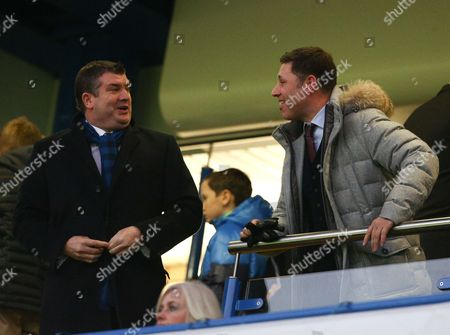 Chelsea chief executive Ron Gourlay talks with Southampton chairman Nicola Cortese