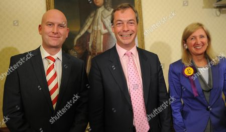 Ukip Leader Nigel Farage At The Ukip Press Conference With Paul Nuttall (mep North West Liverpool) And Marta Andreasen (mep South East).