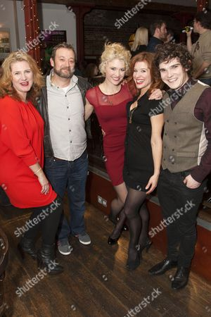 Jackie Clune (Old Lady), James Dreyfus (Dr Pangloss), Scarlett Strallen (Cunegonde), Cassidy Janson (Paquette) and Fra Fee (Candide)