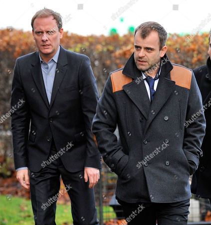 Coronation Street Actor Bill Tarmey Funeral At Albion United Reform Church Ashton-under-lyne Manchester.- Actors Simon Gregson (r) And Anthony Cotton.