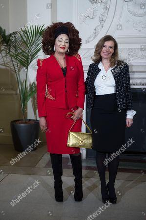 Valerie Trierweiler (R) with Cameroon's first lady Chantal Biya