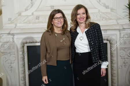 France's first lady Valerie Trierweiler (R) with European Commission President's wife Maria Barroso