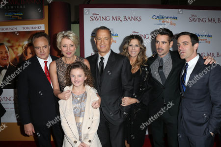 Stock Photo of Bradley Whitfield, Emma Thompson, Annie Rose Buckley, Tom Hanks, Rita Wilson, Colin Farrell, BJ Novak