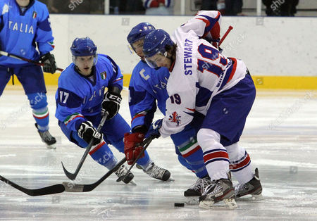 Liam Stewart in a face off against Italy