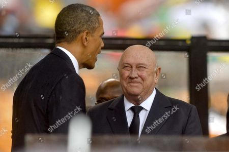 US President Barack Obama and F W de Klerk attending Nelson Mandela's public Memorial Service.