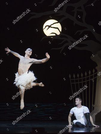 Jonathan Ollivier as The Swan and Simon Williams as The Prince