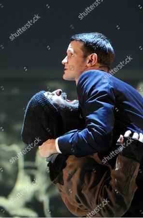 Simon Gregor as Detective Kimball and Matt Smith as Patrick Bateman