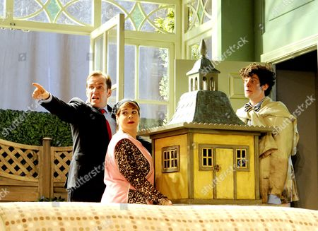 'The Duck House' - Ben Miller as Robert Houston MP, Debbie Chazen as Ludmilla and James Musgrave as Seb