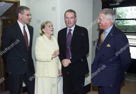 John Celentano.Vice President and General Manager of Bristol - Myers Squibb Pharmaceuticals North Europe with Shirley Conran and Minister of Health William Hutton and John Steele Group Personnel Director of BT