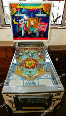 Editorial photo of A Pinball Machine Amongst The Lots At The Auction Of Property Owned By John Entwistle The Former Bass Guitarist With 'the Who' At Frogmill Hotel Andoversford Gloucestershire.