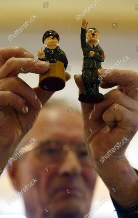 Sir Winston Churchill And Adolf Hitler - Pieces From A Novelty Chess Set In The Lots At The Auction Of Property Owned By John Entwistle The Former Bass Guitarist With 'the Who' At Frogmill Hotel Andoversford Gloucestershire.