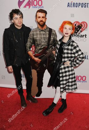 Paramore, Taylor York, Hayley Williams with a Jeremy Davis cardboard cut-out