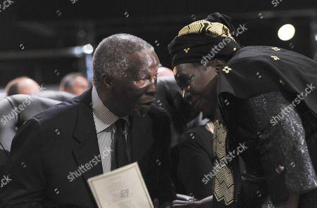 Former President Thabo Mbeki chating to Nkosazana Dlamini-Zuma