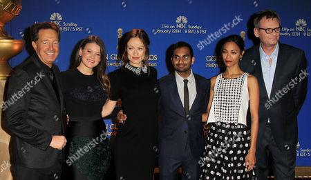 Guest, Sosie Bacon, Olivia Wilde, Aziz Ansari, Zoe Saldana and Theo Kingma