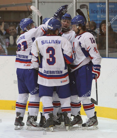 Liam Stewart (no19) celebrates after scoring his first goal for Great Britain playing against France