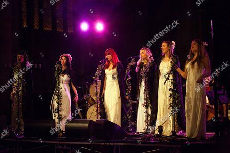 Stock Photo of The Mediaeval Baebes - Katharine Blake, Esther Dee, Clare Marika Edmondson, Sarah Kayte Foster, Emily Alice Ovenden, Josephine Ravenheart