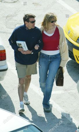 Sebastian Coe (lord Coe) With Girlfriend Carole Annett Leave The Manopama Restaurant After Their Lunch Near Their Five Star Luxury Hotel In Athens Greece In July 2011 Carole Annett Married Lord Coe (sebastian Coe) And Became Lady Coe.