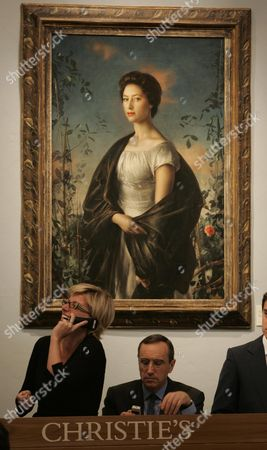 Stock Picture of The Auction At Christies Continues For A Second Day With The Sale Of Princess Margaret's Furniture And Fine Art. Pictured Is Lot Number 293 A Pietro Annigoni Portrait Of Princess Margaret Which Sold For A Hammer Price Of 600 000. See Paul Harris Story.