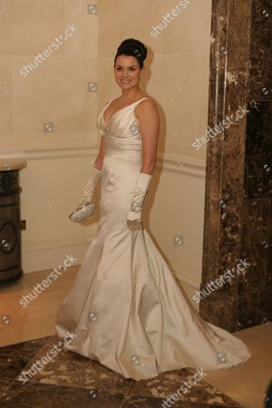 Stock Photo of Television Presenter Caroline Morahan. The Vip Style Awards 2007 A The Shelbourne Hotel. Caroline Is Pictured Wearing A One-off Kathy De Stafford Floor-length Gown. Caroline Was Competing Against 19 Other Stunning Women For The Vip Magazine Trophy.