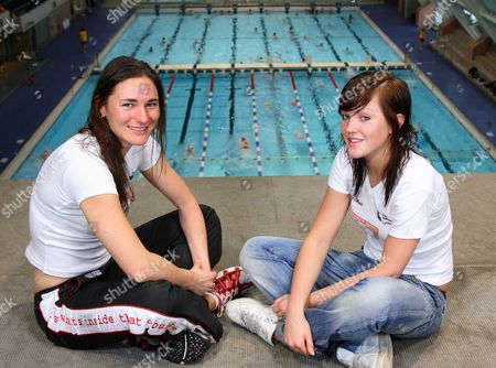 Multi-paralympic Champion Sarah Bailey (left) 29 Who Has Swapped The Pool For Cycling Pictured With Swimmer Rachael Latham 17 With At The Aquatics Centre In Manchester A Venue For The Visa Paralympic World Cup Starting On 7 May 2007.