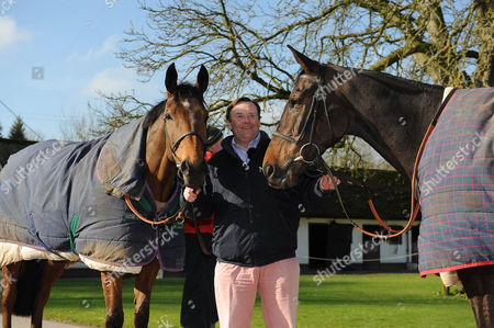 Cheltenham Festival Preview. Nick Henderson Lambourn Stables Pictured Nicky Henderson With Racehorses Bobs Worth (left) And Long Run (right).