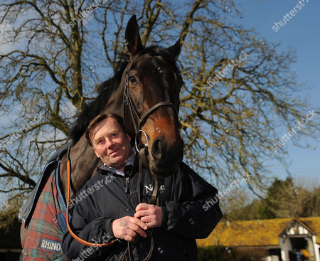 Cheltenham Festival Preview. Nick Henderson Lambourn Stables Pictured Nicky Henderson With Racehorse Sprinter Sacre.