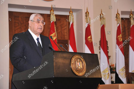 Egypt s interim president Adly Mansour annoucing that a referendum on a new draft constitution will be held next month, during a press conference