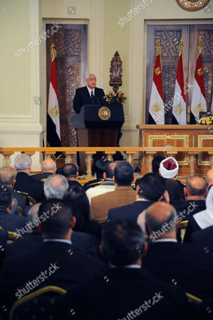 Stock Image of Egypt s interim president Adly Mansour annoucing that a referendum on a new draft constitution will be held next month, during a press conference