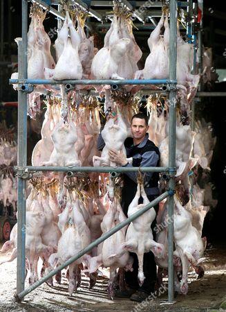 Steve Slade with plucked Christmas turkeys
