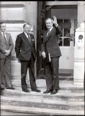 Us Vice President George Bush And Francis Pym At The Foreign Office Today.