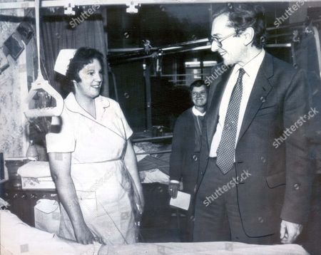Conservative Mp For Sutton Coldfield And Secretary Of Health Norman Fowler Meets Non-union Nurse Alison Smith In Ward 7 At Good Hope Hospital Sutton Coldfield West Midlands. (date Taken Unknown).