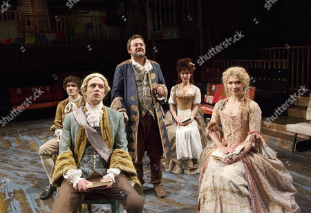 'The Best of All Possible Worlds' - clockwise from front left: David Thaxton (Maximilian), Fra Fee (Candide), (centre) James Dreyfus (Pangloss), Cassidy Janson (Paquette), Scarlett Strallen (Cunegonde)