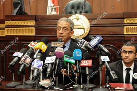 Editorial picture of Egypt's constituent assembly Chairman Amr Moussa meets students of Economics and Political Science at the Shura Council in Cairo, Egypt - 18 Dec 2013