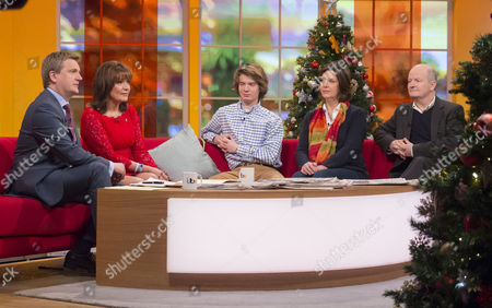 Aled Jones and Lorraine Kelly with Will Pope, Rosie Pope and Phillip Pope.