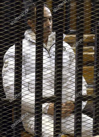 Gamal Mubarak in the defendants' cage