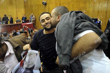 Stock Photo of Mubarak supporters celebrate