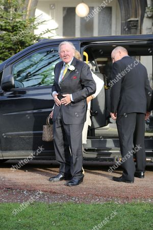Leslie Phillips and Zara Carr arrive home for the wedding blessing