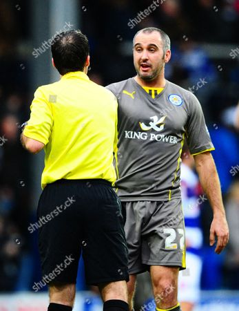 Gary Taylor-Fletcher of Leicester City shakes hands with referee Paul Tierney at full time