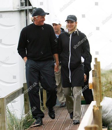 Greg Norman And Chris Evert Stroll Out On The First Day Of The Open Championship At Royal Birkdale.