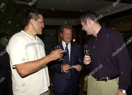 ZINZAN BROOKE, MICHAEL LYNAGH) AND GAVIN HASTINGS DISCUSS THEIR PLAYING PARTNERS