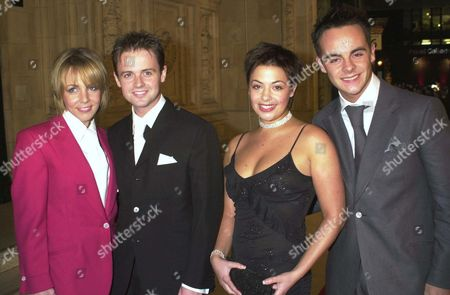 ANT AND DEC WITH GIRLFRIENDS CLARE BUCKFIELD ( DEC) AND LISA ARMSTRONG (ANT)