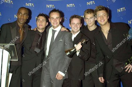 ANT AND DEC WITH THE BAND BLUE