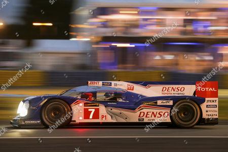 Toyota No.7, drivers Alexander Wurz, Austria, Kazuki Nakajima, Japan, and Nicolas Lapierre, France, qualifying run for the 24 hours of Le Mans