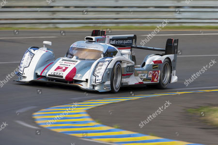 Audi No.2, drivers Allan McNish, UK, Loic Duval, France, and Tom Kristensen, Denmark, qualifying run for the 24 hours of Le Mans